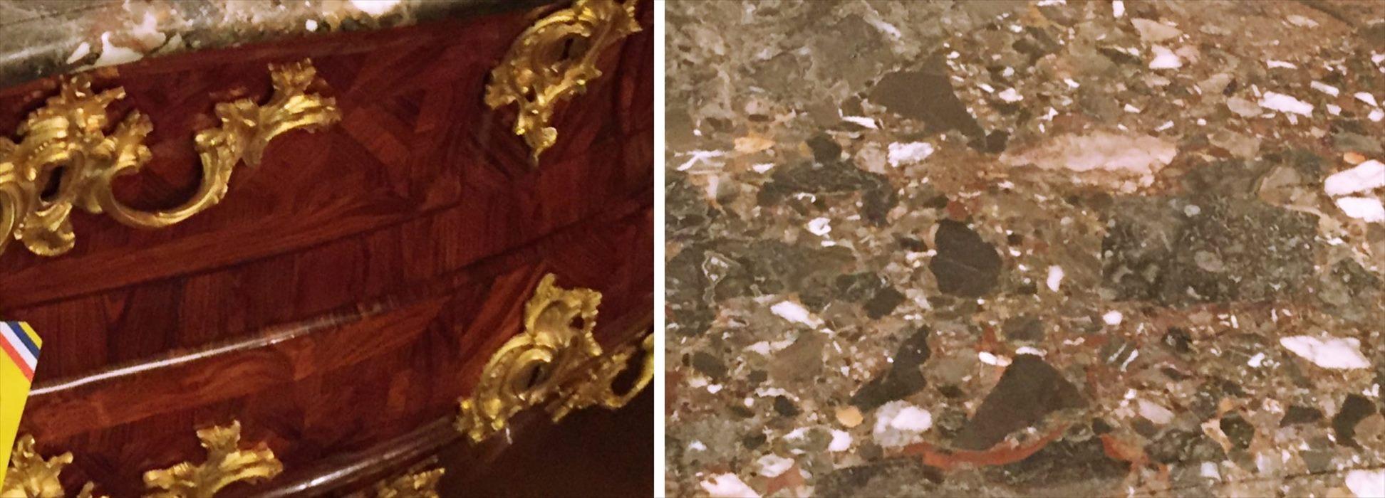 気品あふれる優雅な装飾と綺麗な木目のグラデーションと色調の違う大理石を固めて作られた天板