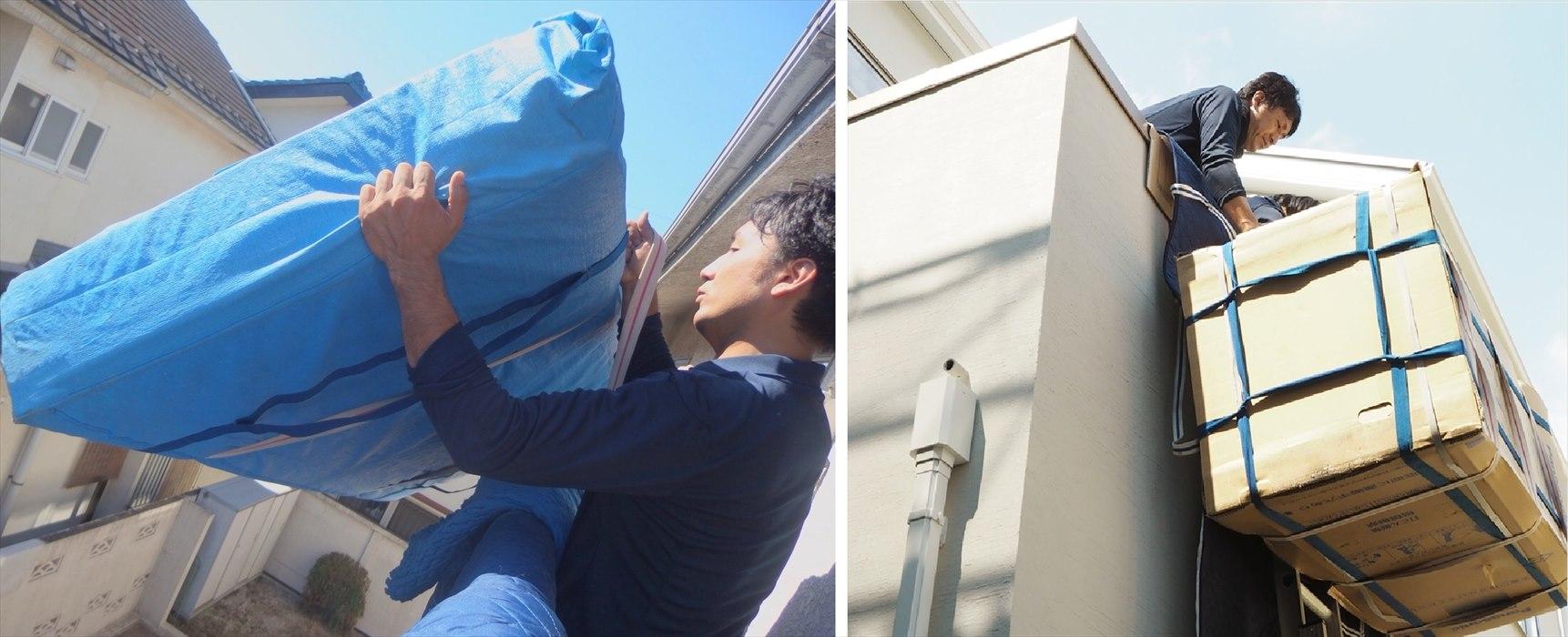 マットレス、大型冷蔵庫の手吊り作業の様子※別のご依頼時に撮影した写真です。