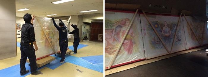 壁画の運搬をするスタッフ