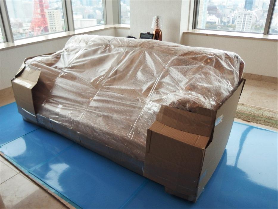クロムハーツの3人掛けソファの梱包運搬.3