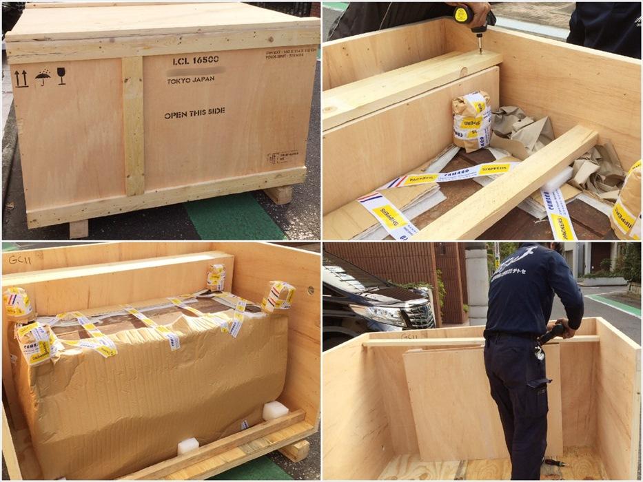 巨大木箱解体