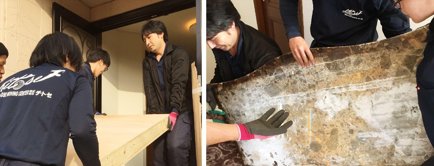 大理石天板の搬入作業