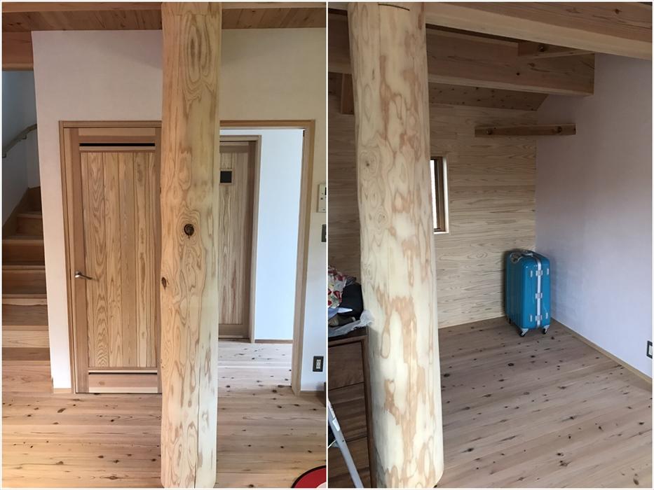 新築一戸建ての室内にある大きな柱