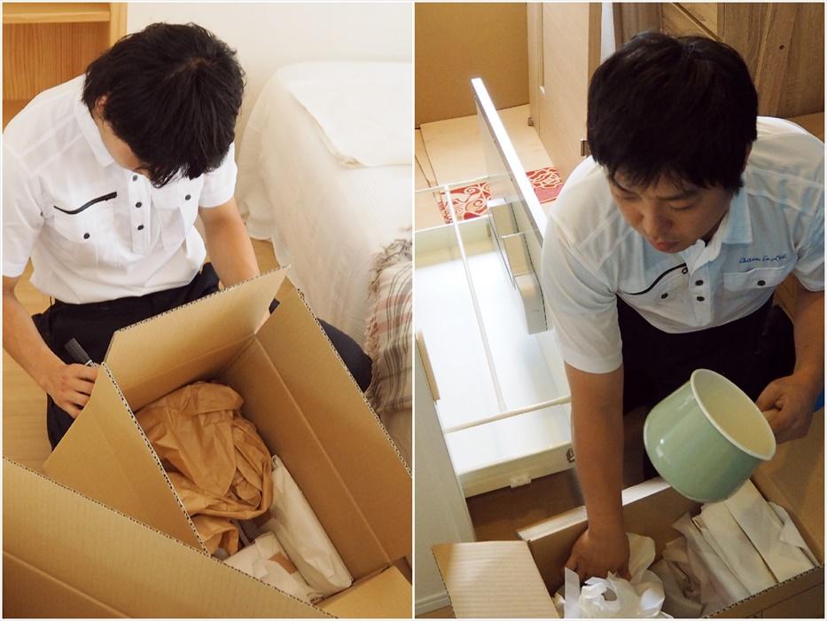 荷造り作業を行うスタッフ