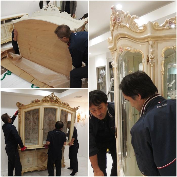 シリック飾り棚を設置するスタッフ