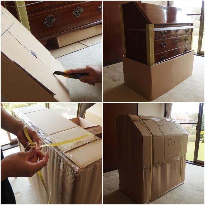 アンティーク家具の保管用梱包