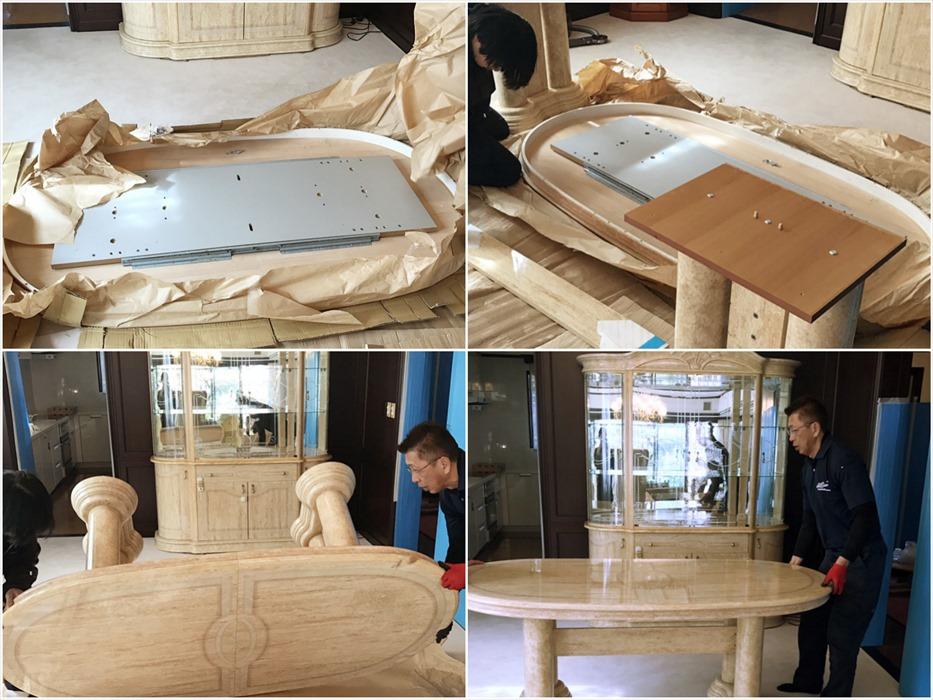大理石テーブルの組立設置