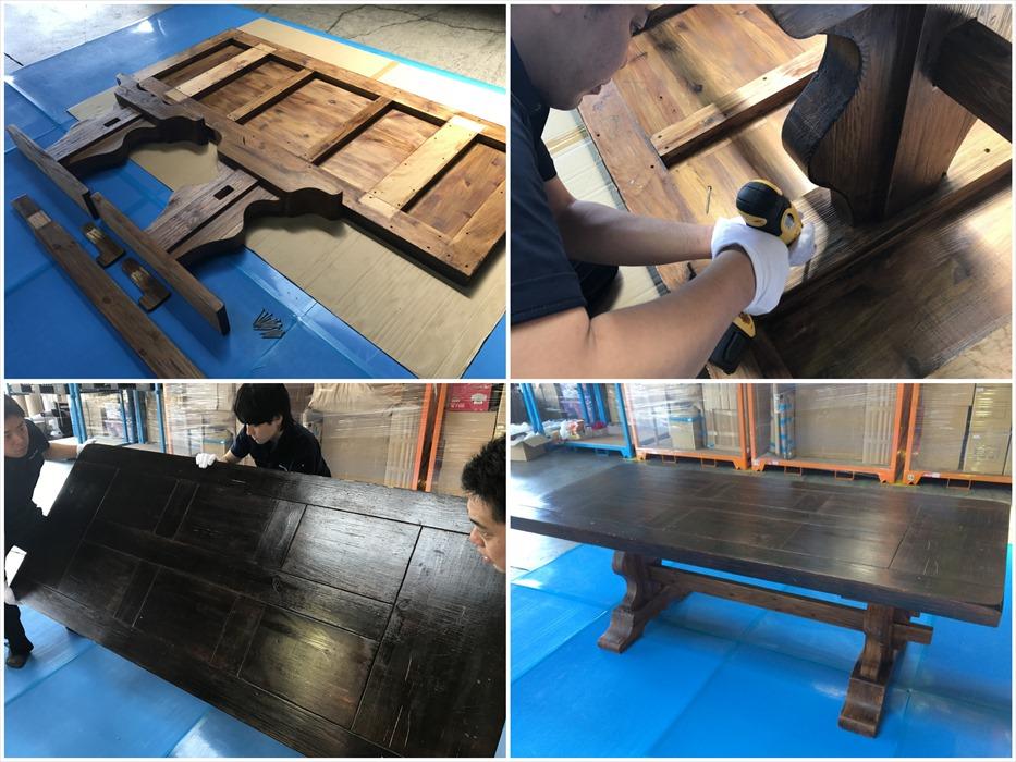 巨大ダイニングテーブルを組み立てる自社スタッフ