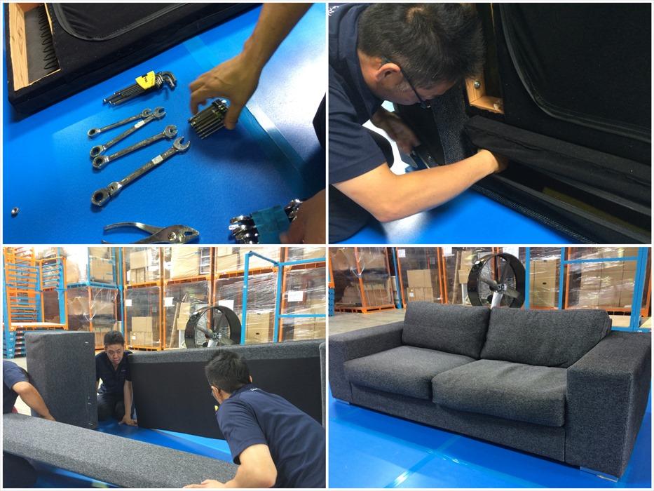 ボーコンセプトのソファを自社倉庫内で解体する自社スタッフ