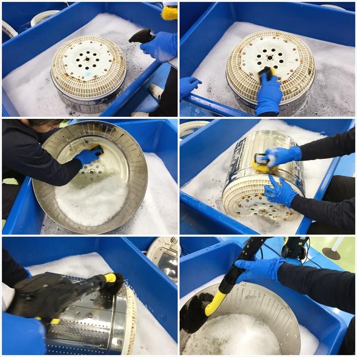 洗濯層を洗浄するスタッフ
