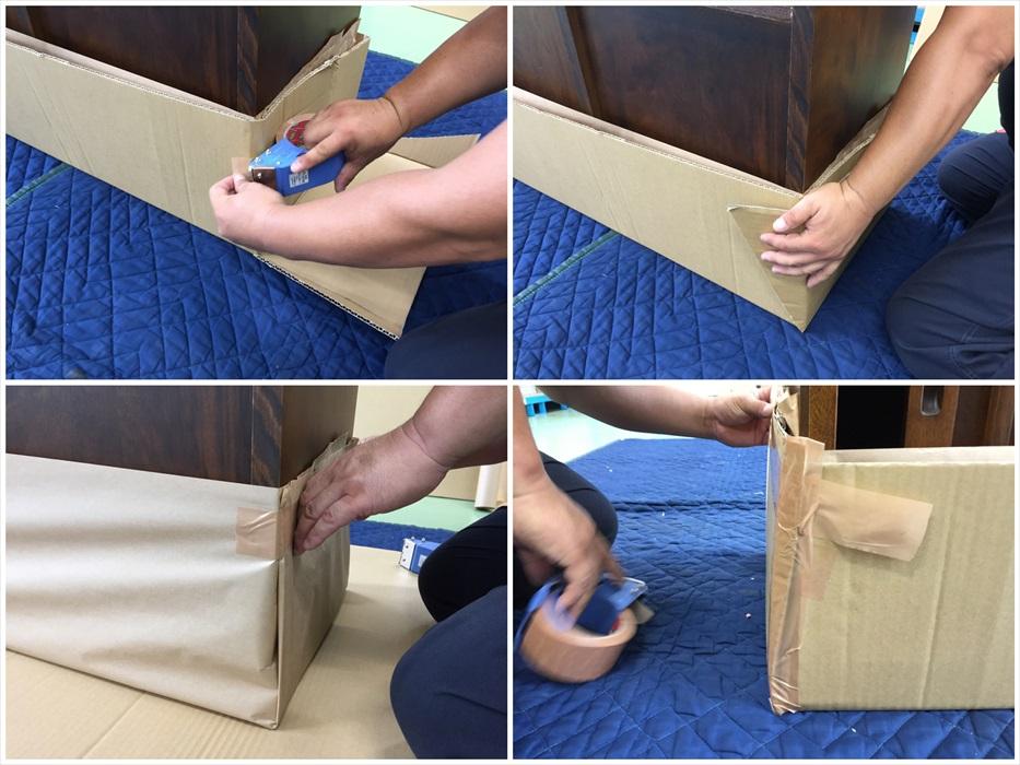アンティークサイドボードの保管用梱包作業