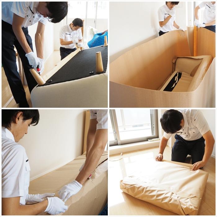 ホームステージングの家具を準備するスタッフ