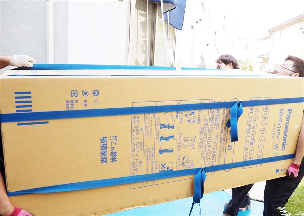 冷蔵庫の手吊り作業.3