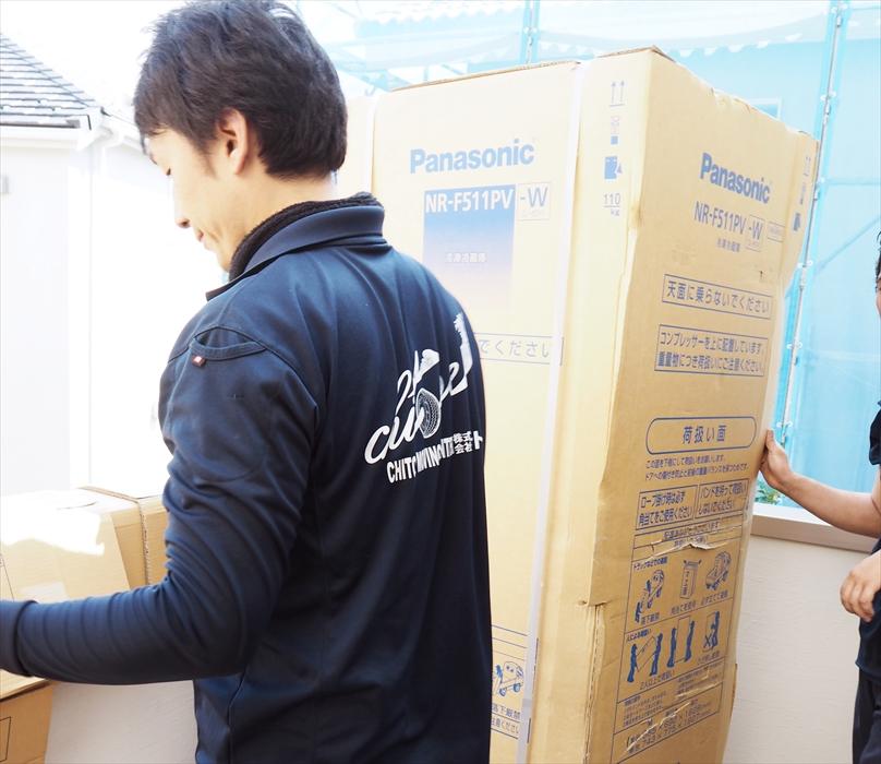 冷蔵庫の手吊り作業.9