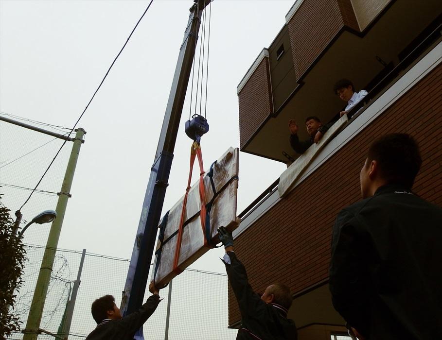御影石ダイニングテーブル吊り作業.5