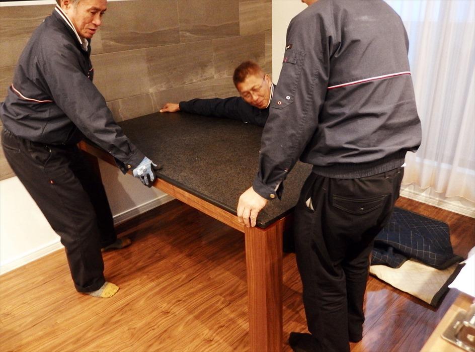 御影石ダイニングテーブル開梱設置.5