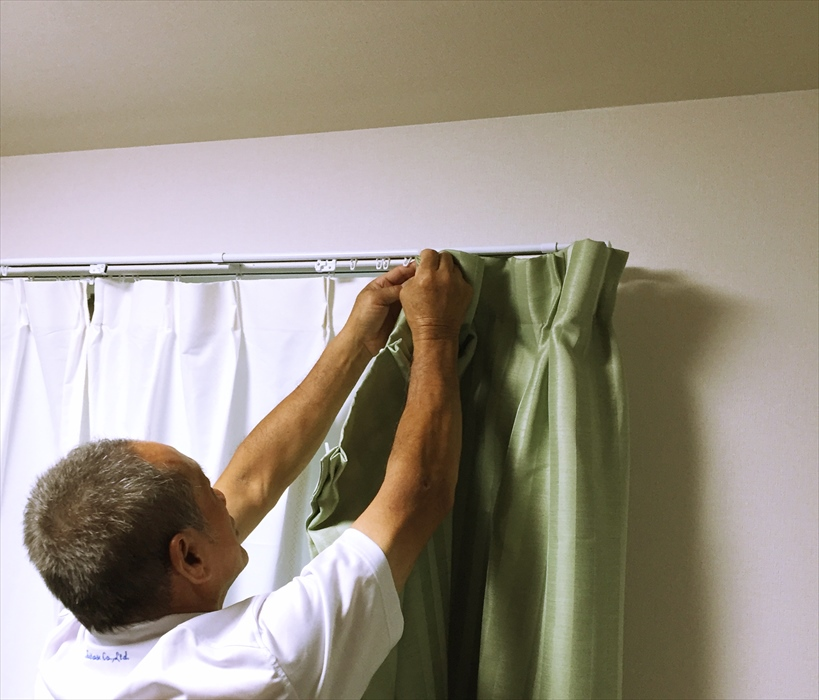 グリーンのカーテン取付