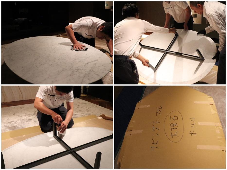 大理石テーブルの梱包作業