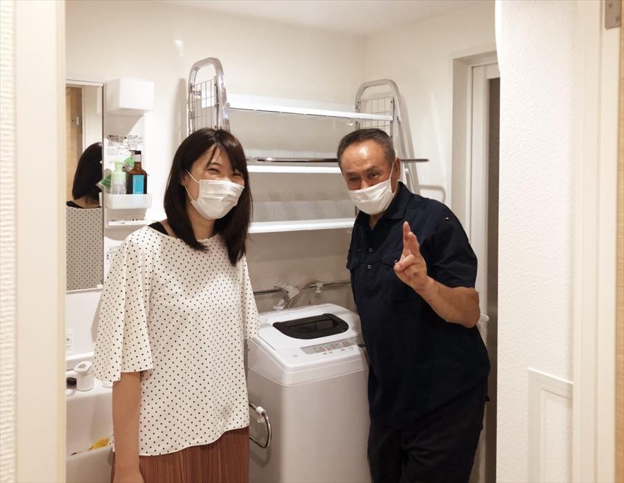 洗濯ラック組立後のお客様記念写真