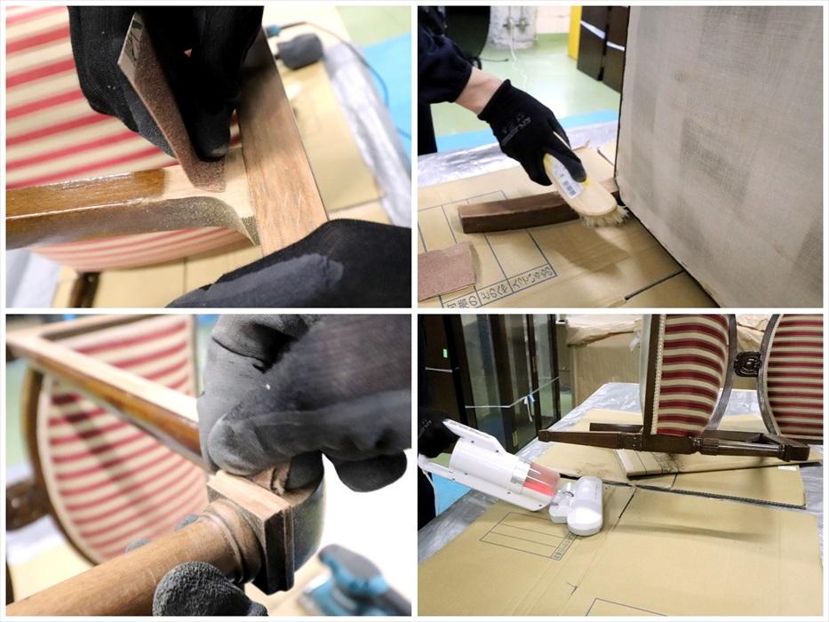 古い塗装を削る作業.1