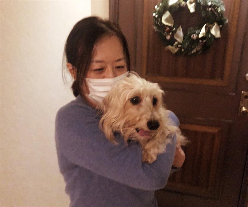 愛犬と一緒の写真