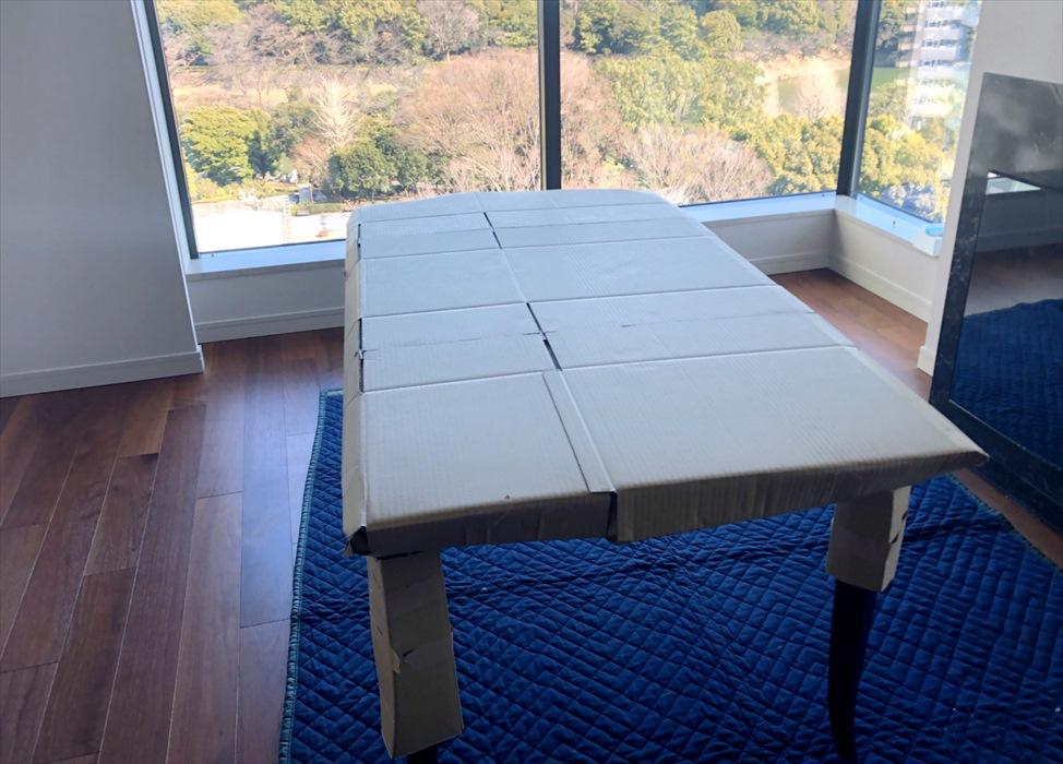梱包が完成したドレクセルのダイニングテーブル
